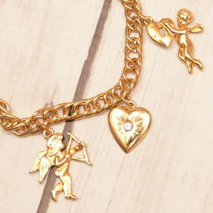 vintage gold heart angel bow arrow cupid bracelet